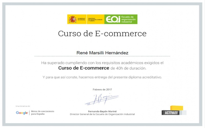 Certificado del Curso E-Commerce EOI Activate Sam.can