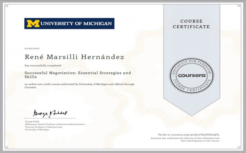 University of Michigan René Marsilli Course Certificate Samcanservices