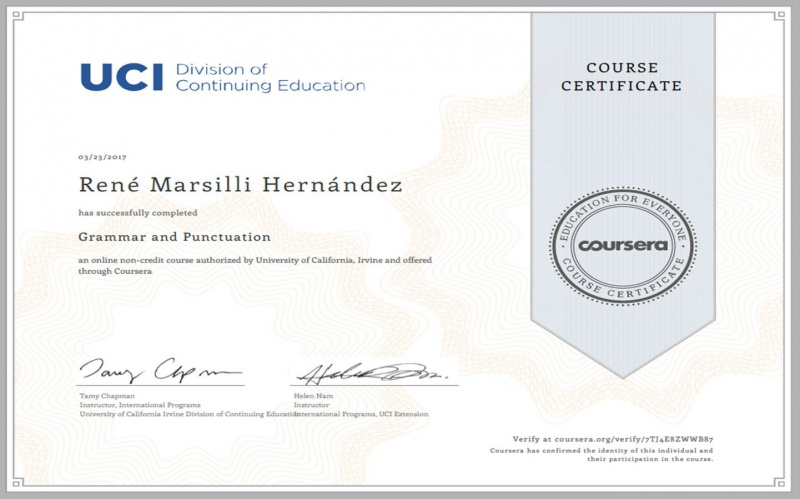 Certif. University of California Irvine, USA