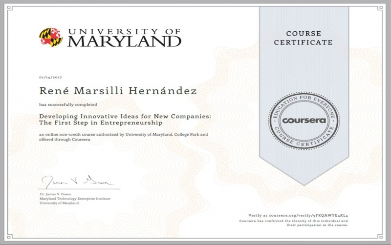Certificado del Curso Coursera University of Maryland